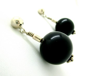 EARRING D SILVER AND BLACK STONE LUXENTER
