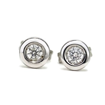 EARRINGS 0.20 CTS OF DIAMONDS AND WHITE GOLD 18KTES NEVER SAY NEVER