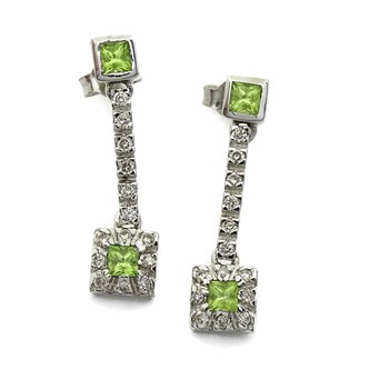 EARRINGS 0.45 CTS OF DIAMONDS AND FINE STONE COLOR WHITE GOLD 18KTES. NEVER SAY NEVER
