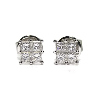 EARRINGS 0.75 CTS OF DIAMONDS PRINCESS CUT. 6MM X 6MM. PRESSURE NEVER SAY NEVER