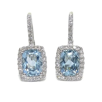 DIAMOND EARRINGS IN 18K WHITE GOLD WITH 2 BLUE TOPAZES NEVER SAY NEVER
