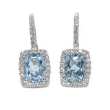 DIAMOND EARRINGS IN 18K WHITE GOLD WITH 2 BLUE TOPAZES NEVER SAY NEVER