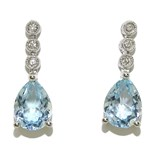 OUTSTANDING BLUE TOPAZ AND DIAMOND IN WHITE GOLD 18K. 3.07 CT TOPAZ AND 0.06 CTS OF DIAMANT NEVER SAY NEVER