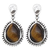 PURE SILVER PPP439 TIGER EYE EARRINGS Plata Pura