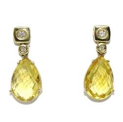 pendientes de oro amarillo de 18k con 2 citrinos citrinos y 4 diamantes Never say never