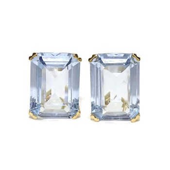 EARRINGS OF YELLOW GOLD OF 18KTES WITH 2 ZIRCONS BLUE 1.4 CM HIGH BY 1.00 INCHES WIDE Never say never