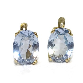 EARRINGS OF YELLOW GOLD OF 18KTES WITH ZIRCONS BLUE 1.2 CM BY 0.9 CM LOCKING BLADE Never say never
