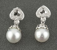 EARRINGS WHITE GOLD 18 KT WITH DIAMONDS SIZE BRIGHT 0,40 KTS PEARL AND SOUTH SEA PEARL (AUSTRALIAN) OF 10.45 MM DSC-VJR74-B