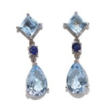 EARRINGS IN 18K WHITE GOLD WITH SAPPHIRES AND BLUE TOPAZES EXCLUSIVE. 3.00 CM LONG. NEVER SAY NEVER