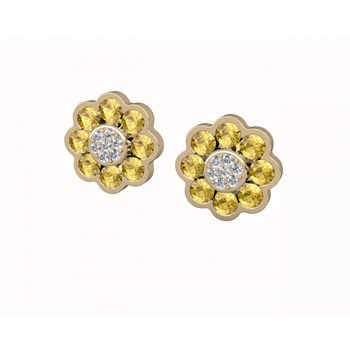 Or, boucles d\'oreilles citrines et diamants. CNE-0004/35 Oreage