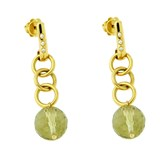 GOLD WITH DIAMONDS AND QUARTZ EARRINGS