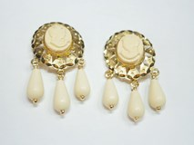 GOLD EARRINGS CUBAN 3 TEARS IVORY - OWN - 8266