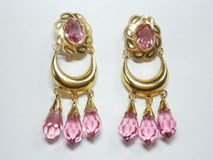 GOLD EARRINGS CUBAN 3 TEARS PINK - OWN - 7084P2