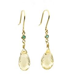 Pendientes de oro de ley con esmeraldas y cuarzos limón 1501/0149-LIMÓN