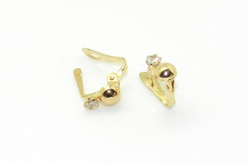 Gold and cubic zirconia earrings for girl