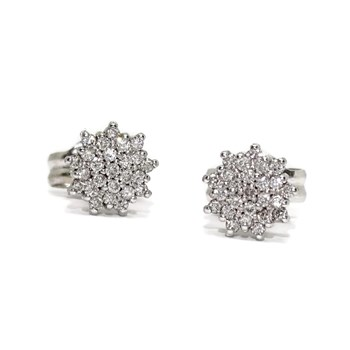 DIAMOND EARRINGS 0.20 CTS AND 18K WHITE GOLD WITH THE FORM OF A ROSET�N. CLOSING PRESSURE�N. 0.70 CM NEVER SAY NEVER