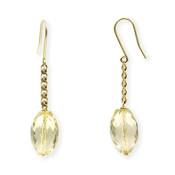 EARRINGS IN YELLOW GOLD WITH CITRINE QUARTZ FACETED PEAR SHAPED 9,15 MM X 13,95 MM