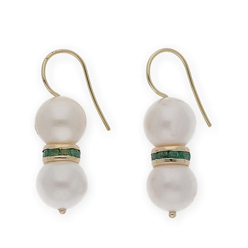 EARRINGS IN YELLOW GOLD 750 THOUSANDTHS/18 KT WITH NATURAL PEARLS CULTURED