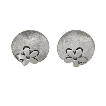 ROUND EARRINGS IN SILVER MARGARITA GLOSS MATTE 44E17 Stradda