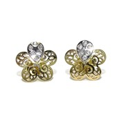 EARRING SPECIAL  MY COMMUNION  OF YELLOW GOLD AND WHITE GOLD 18KTES WITH FILIGREE AND ZIRCONS NEVER SAY NEVER
