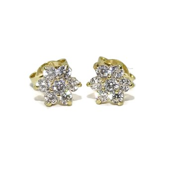EARRING SPECIAL \'MY FIRST COMMUNION\' ROSETTE OF YELLOW GOLD 18KTES WITH ZIRCONS AND PRESSURE NEVER SAY NEVER