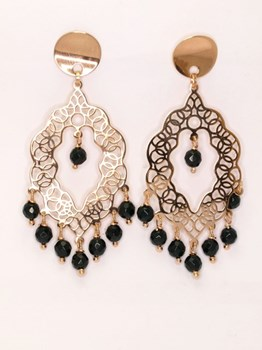 Long filigree earrings with Onyx