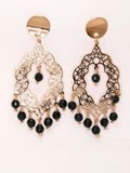 Long filigree earrings with Onyx