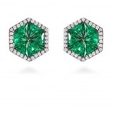 EARRING FLATHOME SILVER AND CUBIC ZIRCONIA EMERALD LUXENTER EK07530