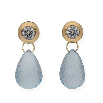DANGLING EARRINGS MADE IN YELLOW GOLD-750 THOUSANDTHS (18KT) WITH BLUE TOPAZ IN PEAR SHAPE AND THE TOP A CUBIC ZIRCONIA
