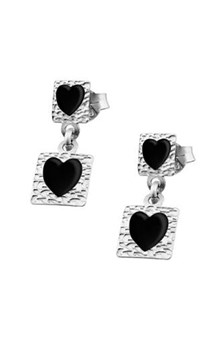 Lotus earrings silver with enamel heart LP1136-4/2.2