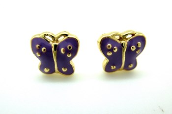 EARRING BUTTERFLY ENAMEL AND BATH GOLD