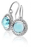 EARRINGS SILVER ZINZI RODIADAS WITH LARGE CUBIC ZIRCONIA CENTRAL AQUAMARINE AND RING ZIRCONS WHITE ZIO1085