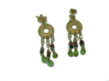 18K GOLD OLIVINAS AND TOURMALINE EARRINGS