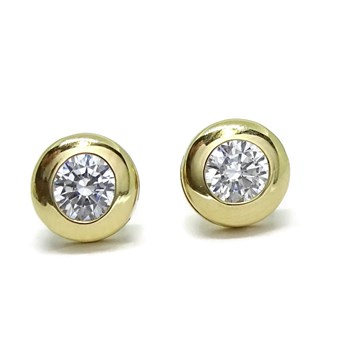 GOLD 18KTES OF 6.5 MM AND CUBIC ZIRCONIA EARRINGS. NEVER SAY NEVER