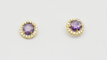 EARRINGS GOLD AMETHYST PEND504 Espaijoia