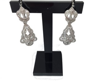 EARRINGS WHITE GOLD 18 KILATES 3575