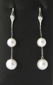 LIGHT PINK WHITE GOLD PEARL AND DIAMOND EARRINGS