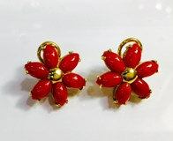 EARRINGS GOLD RED CORAL