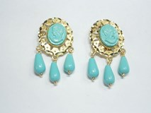 EARRINGS GOLD CUBAN 3 TEARS TURQUOISE - OWN - 8266/T