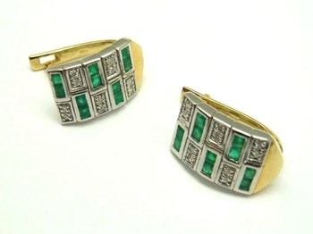 EARRINGS GOLD DIAMONDS AND EMERALDS PE3400651