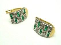 Pendientes oro diamantes y esmeraldas PE3400651