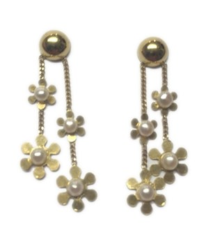 PEARL EARRINGS GOLD FLOWERS I