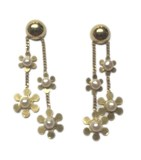Pendientes oro flores i perlas