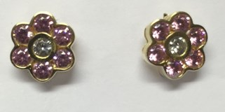 EARRINGS GOLD IS A PINK FLOWER OF FRANCE CUBIC ZIRCONIA