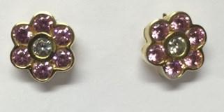 Boucles d'oreilles or est une fleur rose de France cubic zirconia