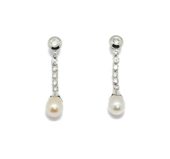 EARRINGS GOLD PEARL STONES PEND510 Espaijoia