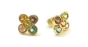 Gold earrings and colored stones