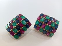 EARRINGS EMERALD, SAPPHIRE AND RUBIES IN GOLD 18 KTES