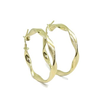 EARRINGS HOOP YELLOW GOLD TYPE\'SCREWED\' MATTE AND GLOSS 18K 4MM NEVER SAY NEVER