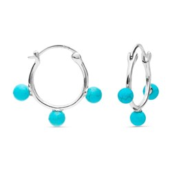 EARRINGS HOOPS LUXENTER SILVER WITH TURQUOISE EXA0839400